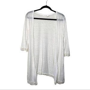 Rachel Ashwell white lace trim linen cardigan XS